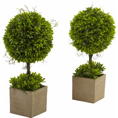 Nearly Natural Boxwood Round Topiary in Planter 6821-S2