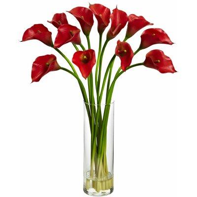 Latitude Run Mini Calla Lily Silk Flower Arrangement with Vase