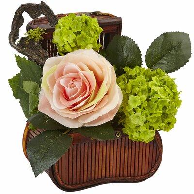 Silk Rose Floral Arrangement in Planter