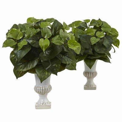 Silk Pothos Floor Foliage Plant in Urn