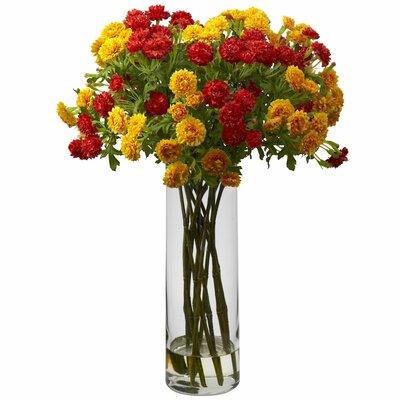 Silk Japanese Flower Arrangement in Decorative Vase Flower Color: Orange/Yellow