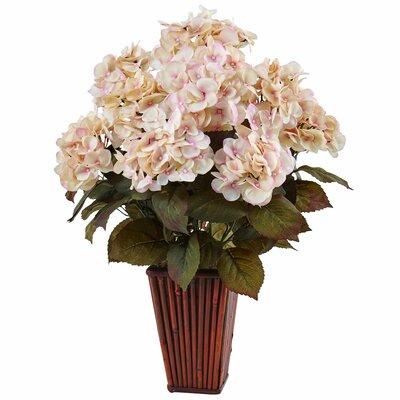 Silk Hydrangea Floral Arrangement in Bamboo Planter Flower Color: Cream/Pink