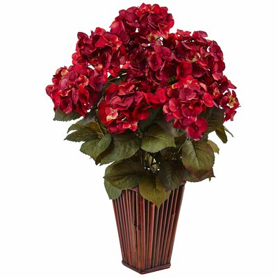 Silk Hydrangea Floral Arrangement in Bamboo Planter Flower Color: Rust