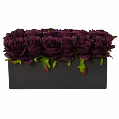 Silk Dozen Roses Floral Arrangement in Planter Flower Color: Purple Elegance