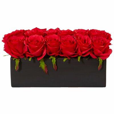 Silk Dozen Roses Floral Arrangement in Planter Flower Color: Red