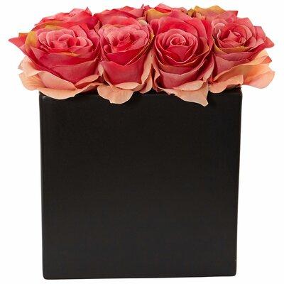 Silk Roses Floral Arrangement in Decorative Vase Color: Dark Pink