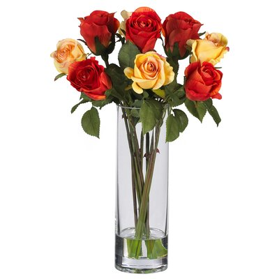 Silk Rose Arrangement with Glass Vase 4740