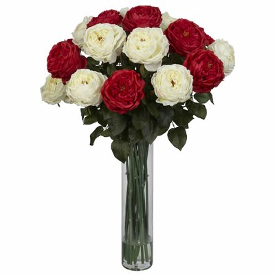 Fancy Rose Silk Floral Arrangements in Red / White