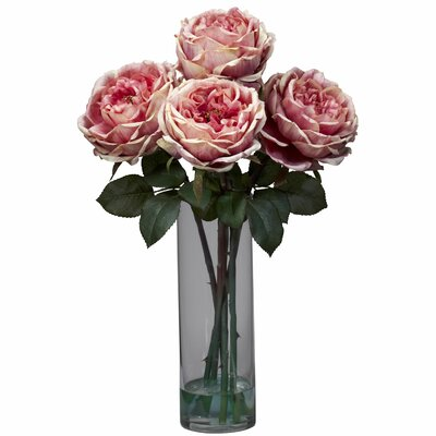 Nearly Natural Fancy Rose with Cylinder Vase Silk Flower Arrangement in Pink at Sears.com