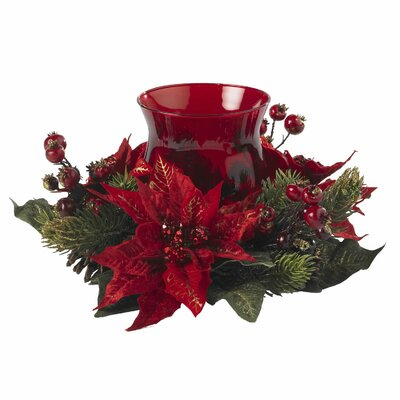 Faux Poinsettia Candleholder