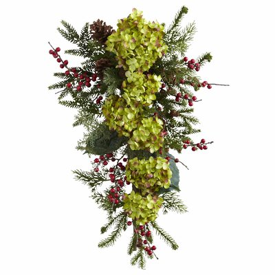 Nearly Natural Hydrangea Pine and Berry Teardrop 4940