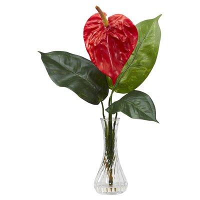 Anthurium with Bud Vase Silk Flower Arrangement 1286