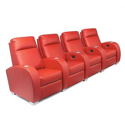 Olympia Home Theater Seating (Row of 4) Type: Not Motorized, Upholstery: Nusuede - Berry