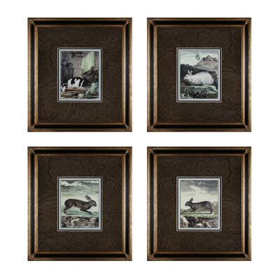 Rabbits 4 Piece Framed Graphic Art Set