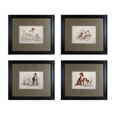 Dog Duos 4 Piece Framed Graphic Art Set