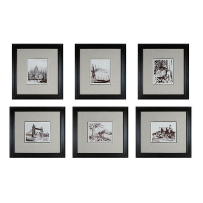 Etchings 6 Piece Framed Graphic Art Set