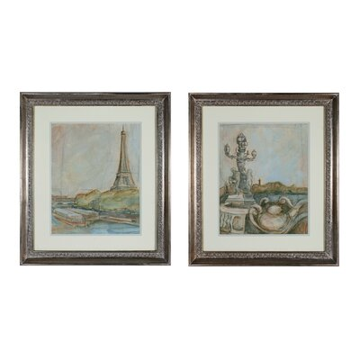 View of Paris 2 Piece Framed Painting Print Set