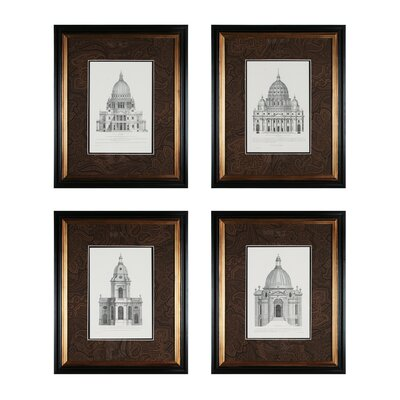 Domes 4 Piece Framed Graphic Art Set