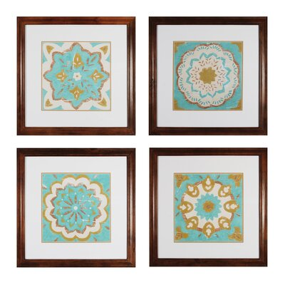 Rustic Tiles 4 Piece Framed Graphic Art Set