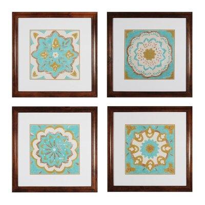 Rustic Tiles 4 Piece Framed Graphic Art Set