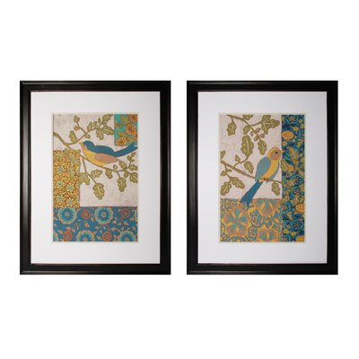 Avian Ornament 2 Piece Framed Graphic Art Set