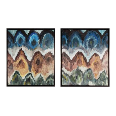 Flamestitch 2 Piece Framed Painting Print Set