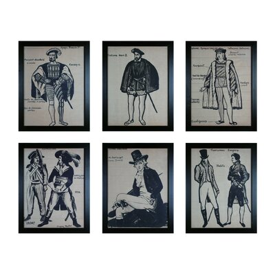 Frenchmen 6 Piece Framed Painting Set