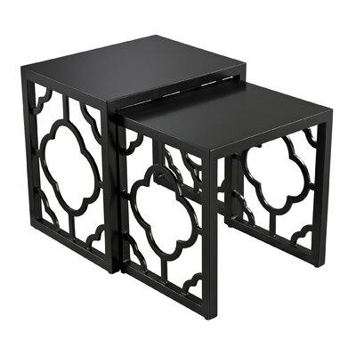 2 Piece Nesting Table Set Color: Matte gloss black
