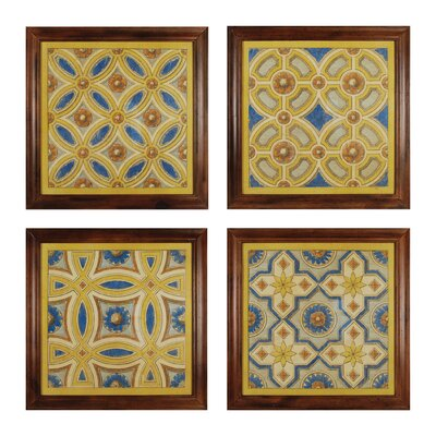 Florentine Tile 4 Piece Framed Graphic Art Set