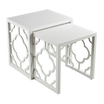 Kadalynn 2 Piece Nesting Table Set Color: Matte gloss white