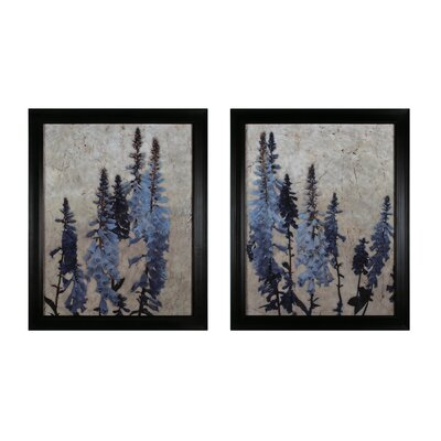 Foxgloves 2 Piece Framed Graphic Art Set