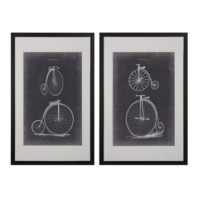 Vintage Bicycles 2 Piece Framed Graphic Art Set