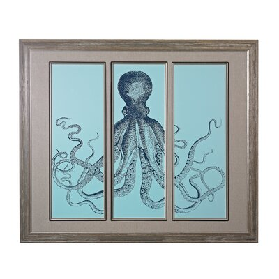 Octopus Tryptich Framed Graphic Art Set
