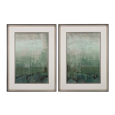 Emerald Sky 2 Piece Framed Painting Print Set