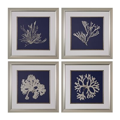 Seaweed on Navy 4 Piece Framed Graphic Art Set