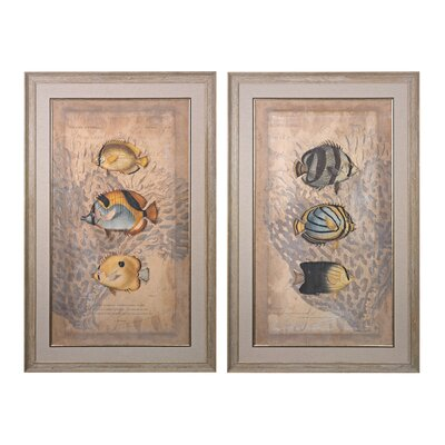Ocean Trilogy 2 Piece Framed Graphic Art Set