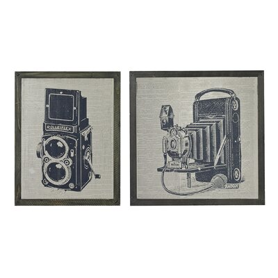 Antique Camera 2 Piece Framed Graphic Art Set