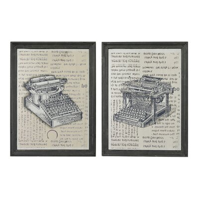 Antique Typewriter 2 Piece Framed Graphic Art Set