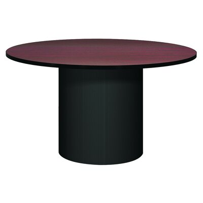 Corsica Circular Conference Table Base Finish: Black, Top Finish: Mahogany, Size: 4 L