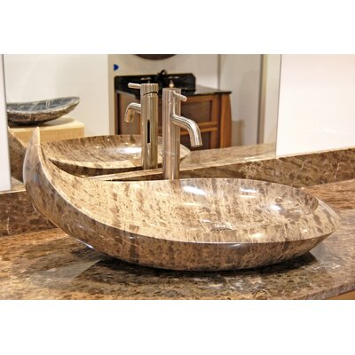 Natural Stone Balena Specialty Vessel Bathroom Sink Sink Finish: Dark Emperadore Marble