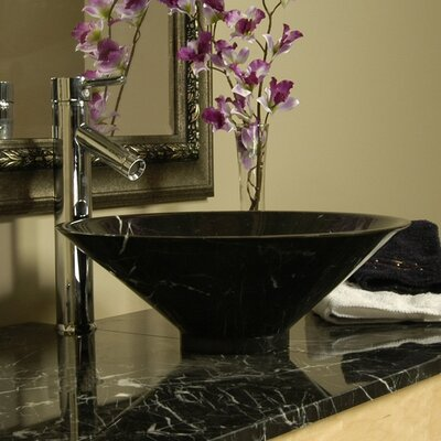 Natural Stone Funnel Circular Vessel Bathroom Sink Sink Finish: Black Marquine