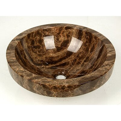 Natural Stone ApronCircular Vessel Bathroom Sink Sink Finish: Crema Rossa Marble