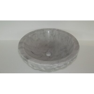 Natural Stone Sinks Stone Circular Vessel Bathroom Sink Finish: White Marble