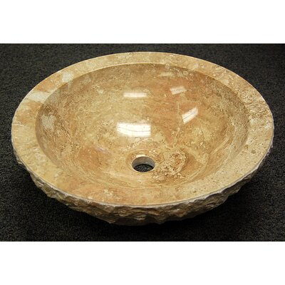 Natural Stone Wabi Sabi Circular Vessel Bathroom Sink Sink Finish: Beige Travertine