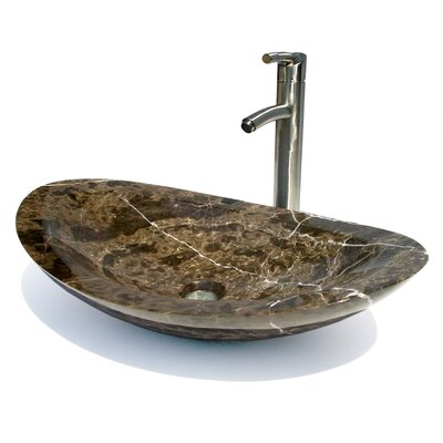 Natural Stone Oval Vessel Bathroom Sink Sink Finish: Dark Emperadore Marble