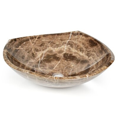 Natural Stone Fong Circular Vessel Bathroom Sink Sink Finish: Dark Emperadore Marble