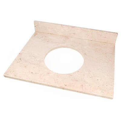 25 Single Bathroom Vanity Top Top Finish: Beige Travertine, Faucet Mount: 4 Spread