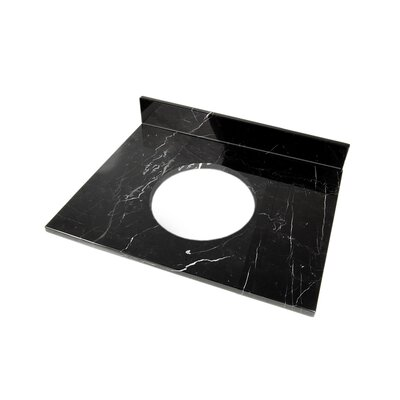25 Single Bathroom Vanity Top Top Finish: Black Marquine Marble
