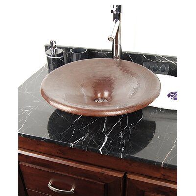 Copper Bathroom Sinks Metal Circular Vessel Bathroom Sink Finish: Dark Smoke Copper