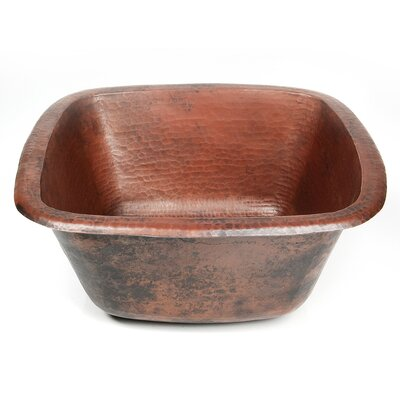 Copper 15 x 15 Plain Hammered Square Bar Sink Finish: Dark Smoke Copper
